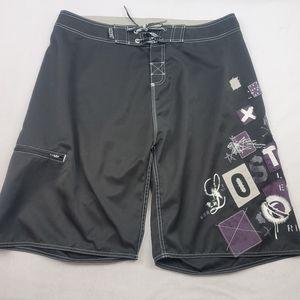 Lost zip pocket tie waist anfib short no lining